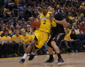Vander Blue is a talented player, but to make the jump to stardom he'll need to improve his jump shot. (Marquette Tribune)