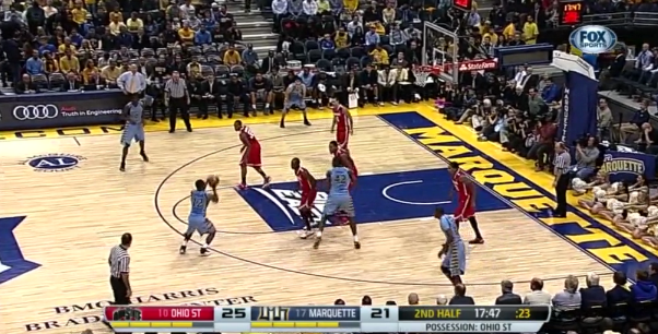 Notice the defender doesn't even bother putting a hand up.