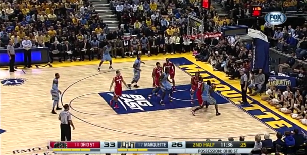 All five Buckeyes collapse into the paint during a drive by Jamil Wilson.