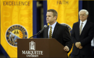 Steve Wojciechowski made an impact at his introductory press conference. (Photo credit: MU Athletics)